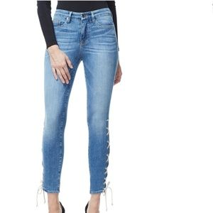 Good american legs high waist lace up skinny jeans